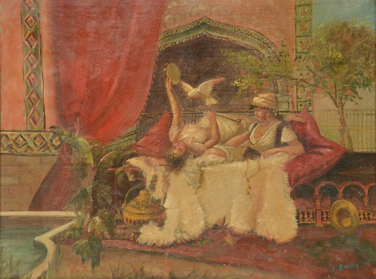 Barbier A., a harem scene, oil on canvas, 48,5 x 65cm