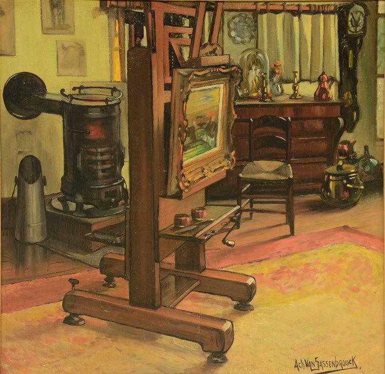 Van Sassenbrouck A., 'Mijn Werkplaats' (my studio), oil on panel, 59 x 60 c