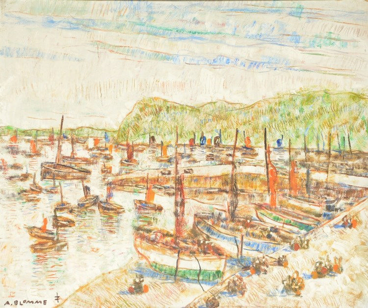 Blomme A., a view of a harbour, oil on board, 69,5 X 84 cm