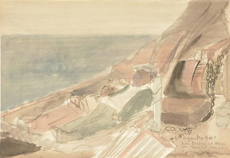 Tytgat E.,'Entre Zierikzee et Veere sur l'Escaut Oriental', watercolour, d