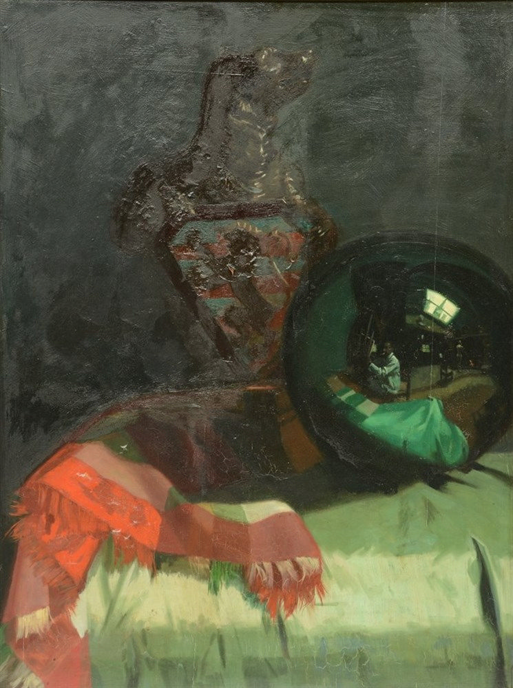 Storie J., a remarkable still life with a witch ball where in the reflectio