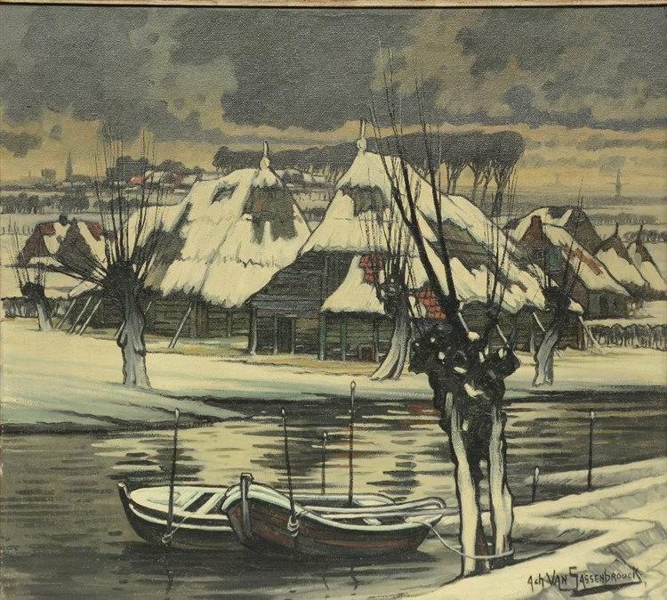 Van Sassenbrouck A., Hamme in winter, oil on canvas, 80,5 x 90 cm
