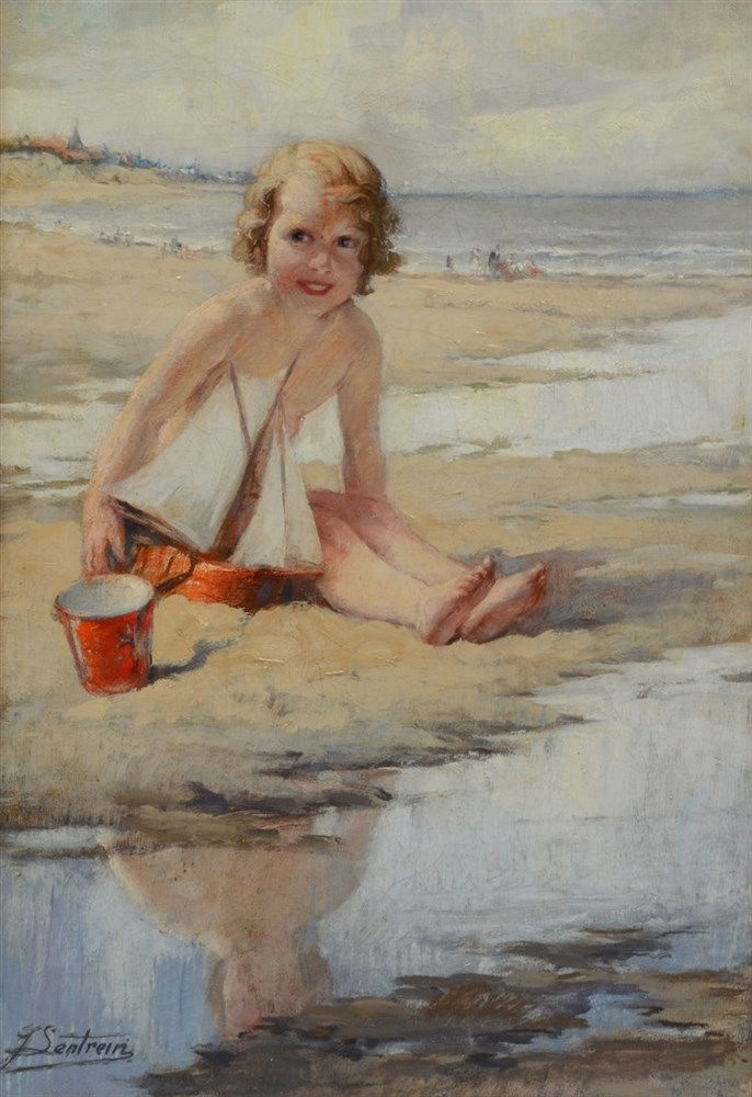 Lentrein J., a girl having fun on the beach, oil on canvas, 45,5 x 65 cm