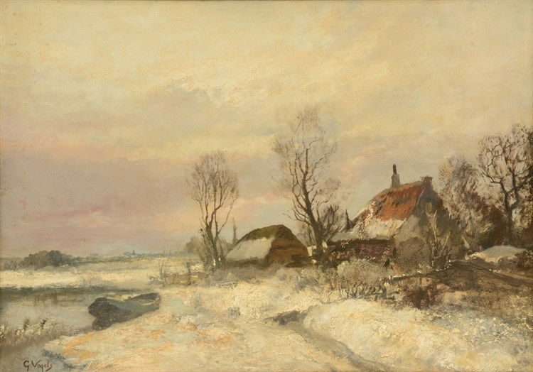 Vogels G., a wintery landscape with farmhouse, oil on canvas, 50 x 70 cm