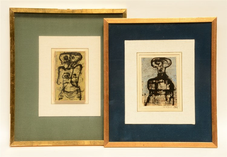Van Hecke W., untitled, 2 x mixed media, one dated 1965, 12,5 x 20,5 cm