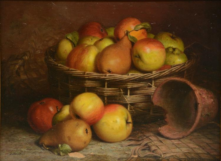 Marshall J., still life with fruits, oil on canvas, dated 1884, 31 x 40,5 c