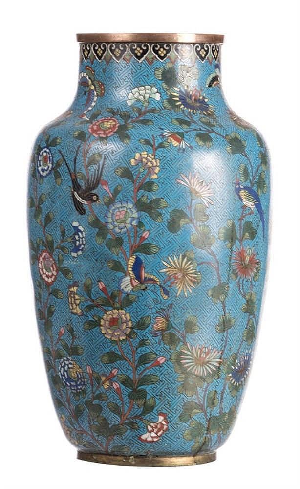 chinese begonia shaped vase vases cloisonne decorated antiques bird asian