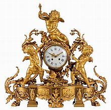 A late 19thC gilt bronze neoclassical mantel clock, the movement carried by three cupids, the dial marked Julien Leroy, H 65,5 - B 63,5 - D 31,5 cm (one ornamental part at the back missing)