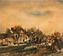 Van Hecke W., a rural view, mixed media, oil on paper, dated 1941, 18 x 20,5 cm