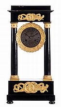 A third quarter of the 19thC French portico clock, ebonised walnut and pearwood with gilt bronze mounts, (some damage), H 52 - W 25,5 - D 13.5 cm