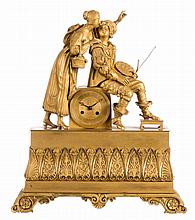 A French bronze ormolu mantel clock, so called 'à sujet', depicting a Renaissance painter and his muse, about 1840, H 46,5 - W 39,5 cm