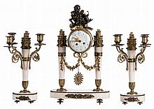 A late Nap. III three-piece neoclassical garniture in white marble and bronze, the dial marked '...-de-Cherbour', H 38 (candlesticks) - 53 cm (pendulum)