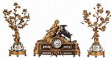 A Nap. III three-piece garniture in gilt bronze, the base of the candlesticks and the plaques of the clock out of Sèvres porcealin, bleu céleste ground colour and floral decoration, the dial marked 'Bezzo & Neveu - Paris-Niort', H 56 cm