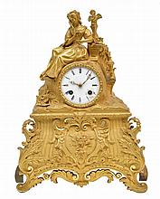 A charming late 19thC gilt bronze mantel clock, H 36 - W 28 - D 11 cm