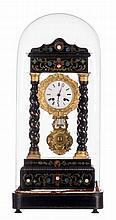 A French 19thC portico clock, ebonised wood and marquetry veneered, with an accompanying globe, H 50 (clock) - 64 cm
