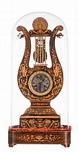 A French 19thC lyre-shaped marquetry veneered mantel clock, Charles X, with matching globe and base, H 61 (clock) - 71 cm