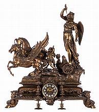 A royale Belle Epoque pendulum in zamac, H 79 - W 68 cm