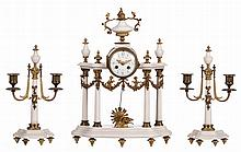 A Neoclassical three-piece garniture, white marble and brass mounts, late 19thC, H 31 - 42 cm (pendulum)