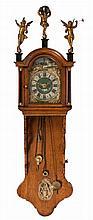 An 18thC Frisian wall clock, H 126 cm
