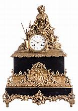 A late 19thC French mantel clock, bronze and sheet brass, H 53 cm