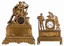A mid 19thC bronze / brass mantel clock depicting a mythological harp player; added a ditto mantel clock depicting Hercules, the dial marked Lemarquand à Cherbourg, (oxidation and damage), H 47,5 - W 37 - D 13 cm / H 37,5 - W 27,5 - D 10,2 cm