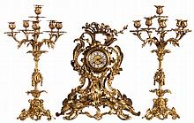 A rococo style bronze garniture, H 49 - 57,5 cm