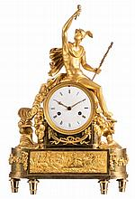 A French bronze ormolu mantel clock with on top a Hermes statue, about 1820, H 489 - W 31 cm