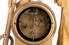A gilt clock 'De près de loin', with an allegory of faith, hope and love, the dial marked 'Bled à Paris', French, first quarter 19thC, H 52 - W 38 cm (minor damage)