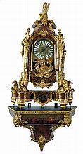 A cartel clock with accompanying base in Louis XIV-style, Boulle marquetry and generous bronze mounts, marked Louis Boname Besançon 1893, H 157 cm