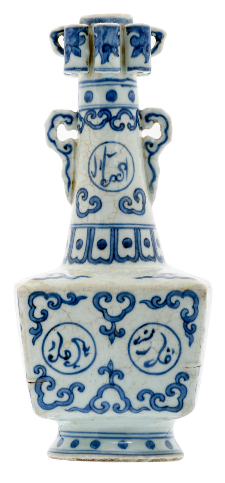 A fine Chinese blue and white floral decorated 'arrow vase' on a quadrangular base, the roundels with Arabic characters, with a Zhengde mark, H 30 cm