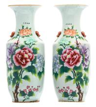 A pair of Chinese famille rose vases, decorated with peonies and calligraphic texts, marked, H 57 cm