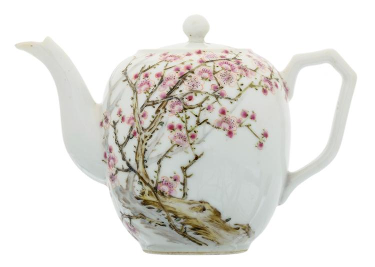 A Chinese famille rose teapot and cover, decorated with cherry blossoms and a calligraphic text, marked and signed, H 12,5 cm