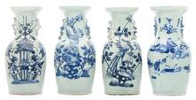 Four Chinese blue and white floral decorated vases, one vases with an animated scene, H 43,5 cm