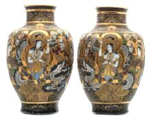 Two Japanese baluster shaped Satsuma vases, overall decorated with various deities, marked, Meiji period, H 47 cm