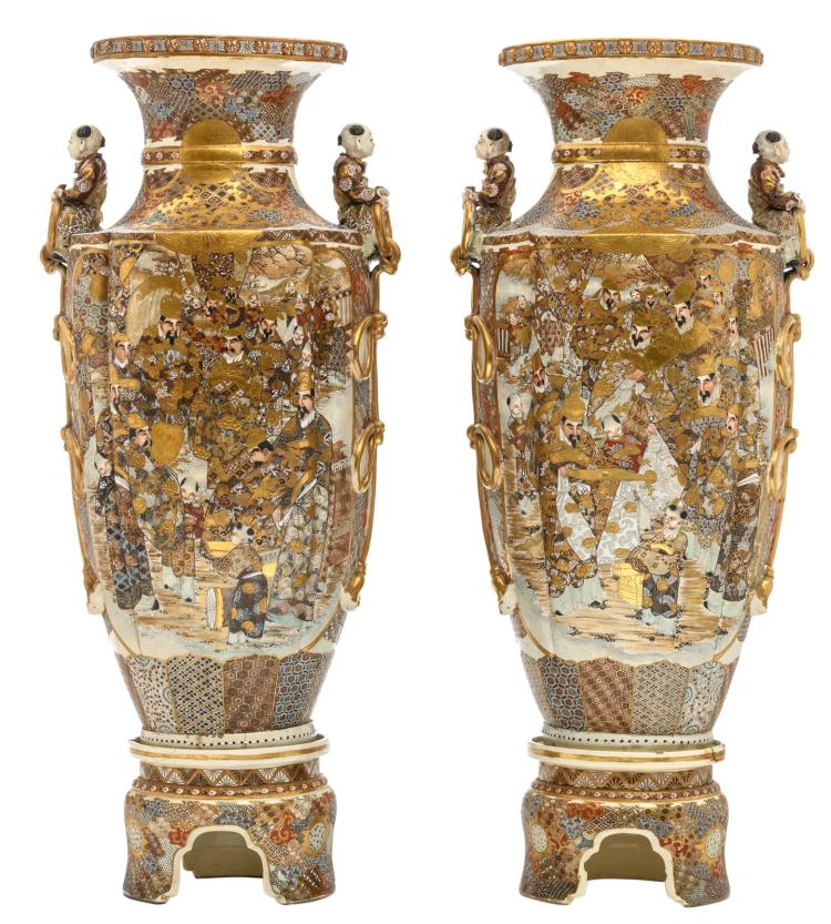A fine pair of Japanese Satsuma and relief decorated vases on ditto soccles, late Edo period, H 93 (without soccle) - 113cm (with soccle)