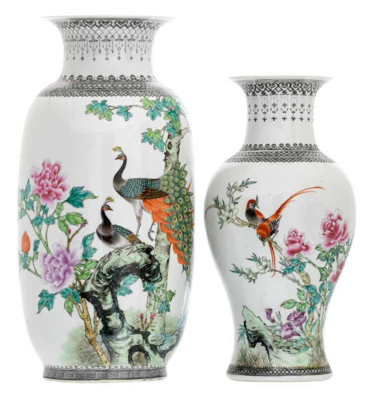 A Chinese famille rose vase and baluster shaped vase, decorated with birds, flower branches and a calligraphic text, marked, H 36 - 43 cm