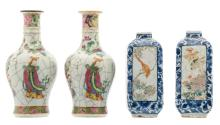 Two Chinese crackleware famille rose baluster shaped vases decorated with figures, flower branches and antiquities, 19thC; added two ditto blue and white and polychrome quadrangular vases, decorated with birds, flower branches, a landscape and calligraphic texts, H 18,5 - 23 cm