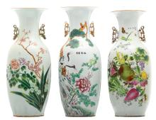 Three Chinese famille rose vases, decorated with flower branches, fruits, cranes and calligraphic texts,H 56 - 59 cm