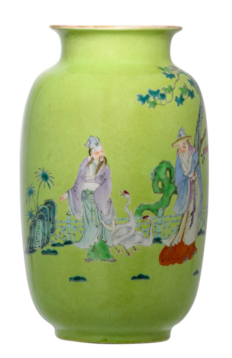A Chinese lime-green ground decorated vase with savants in a garden, with a Yongzheng mark, H 29 cm