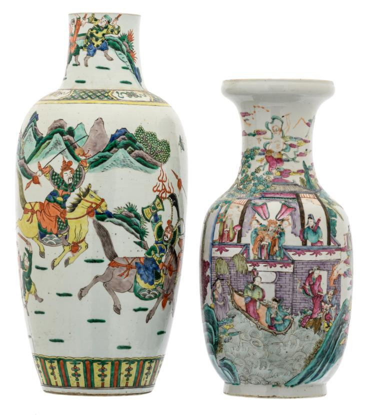 A Chinese famille rose overall decorated vase with Immortals in their habitat, 19thC; added a Chinese famille verte overall decorated vase with warriors in a landscape, 19thC,H 45 - 55 cm