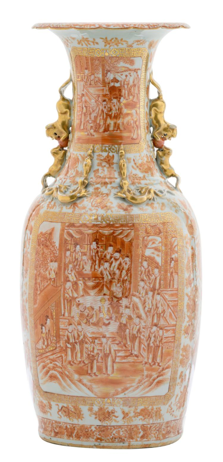 An exceptional Chinese iron red gilt decorated vase with various court scenes, the handles Fu lion shaped, 19thC, H 80,5 cm