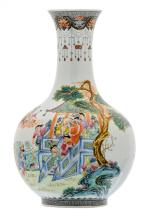 A Chinese famille rose bottle vase, overall decorated with the Eight Immortals in their habitat, with a Qianlong mark, H 39,5 cm
