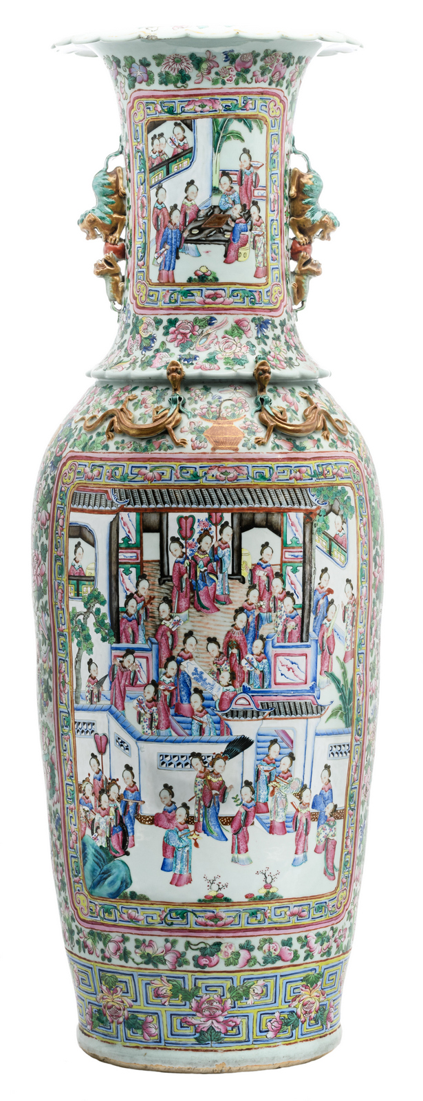 An impressive Chinese famille rose floral and relief decorated vase with dragons and Fu lions, the roundels with court scenes, 19thC, H 133,5 cm