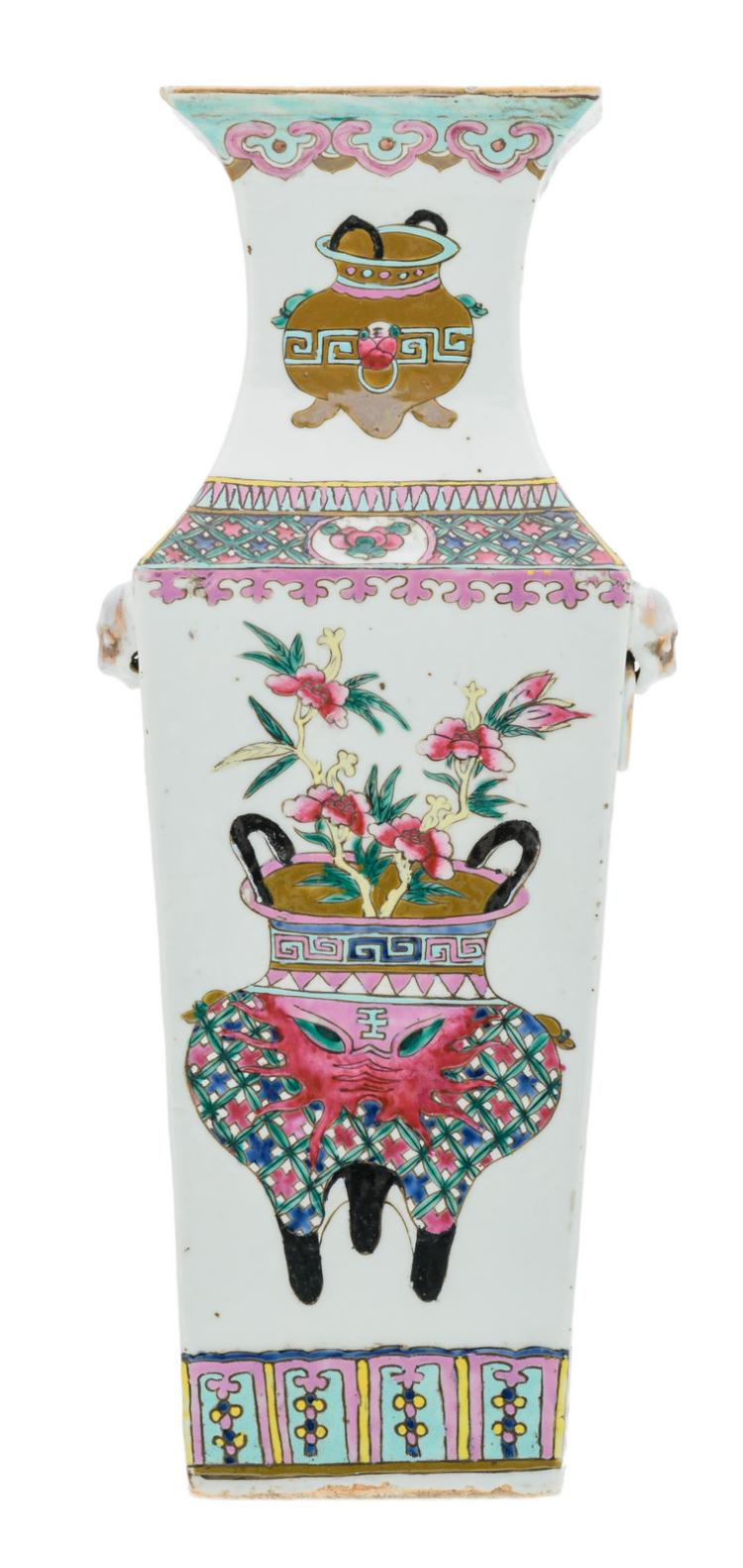 A Chinese famille rose quadrangular vase, decorated with flower vases and calligraphic texts, 19thC, H 44 cm
