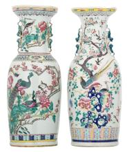 Two Chinese famille rose decorated vases with birds, antiquities and flower branches, 19thC, H 60 cm