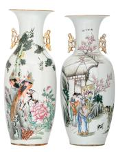 Two Chinese famille rose vases, one vase decorated with an animated scene and calligraphic texts and one vase with birds on flower branches and calligraphic texts, H 58,5 cm