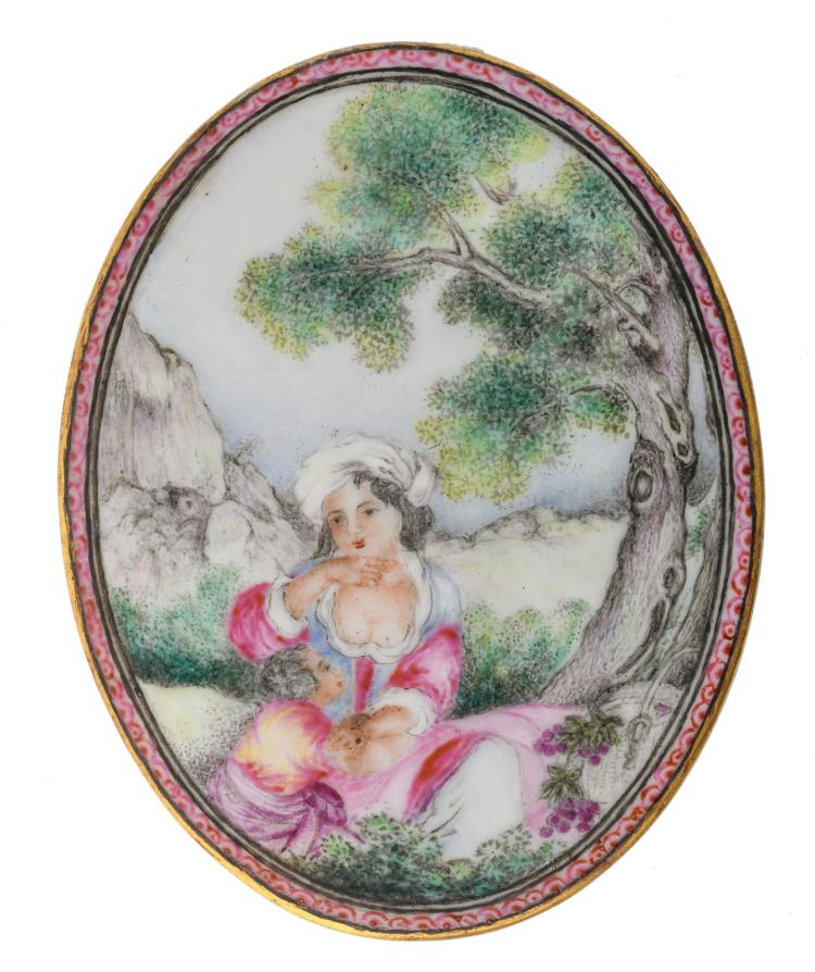 A Chinese famille rose porcelain miniature plaque, export porcelain type, marked, 6,5 x 8,5 cm