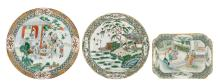 Three Chinese famille verte dishes decorated with various animated scenes, 18th - 19thC, H 3 - 4,5 - ø 26 - 28 cm