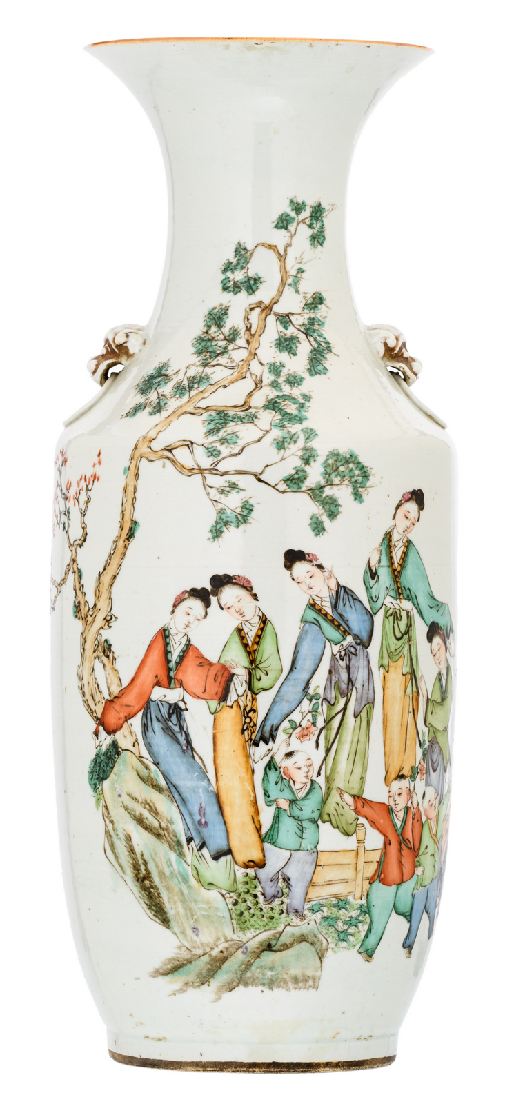 A Chinese polychrome decorated vase with ladies and playing children in a garden and calligraphic texts, marked, H 58 cm