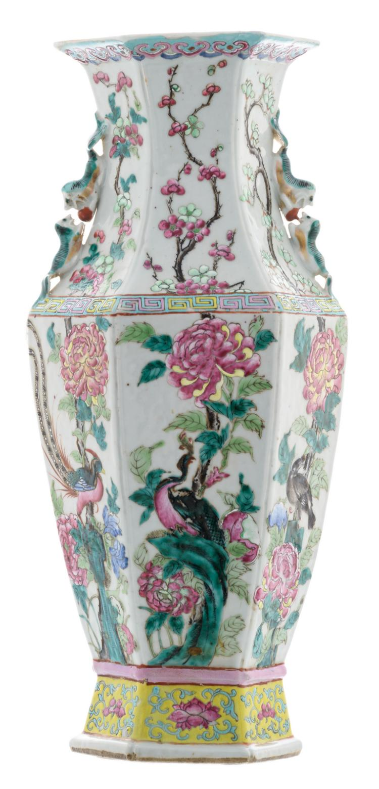 A Chinese famille rose hexagonal vase, decorated with birds and flower branches, 19thC, H 45 cm